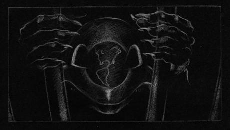 World reflected on alien's face